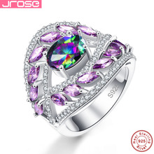 hot deal buy in hot selling, jrose's real 925 sterling silver rings, seven color luxury jewelry, engagement, wedding gifts women for rings