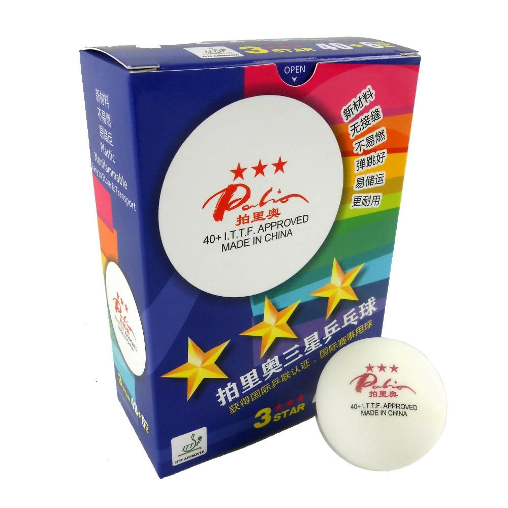 Asli 6x Palio Bahan Baru lancar 40+ 3-Bintang 3 bintang 3star White Table Tennis Ping Pong Balls