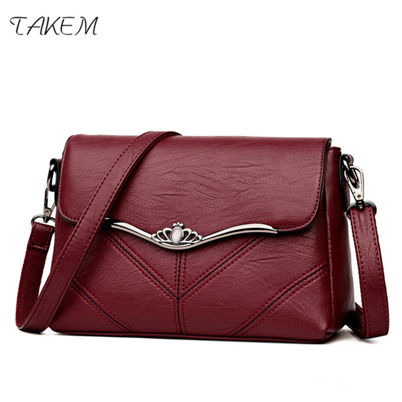 TAKEM 2018 Womens Handbag Feamle ladies PU Leather Hand Bags Taschen Women Messenger Bag Bolsa Feminin sac a main