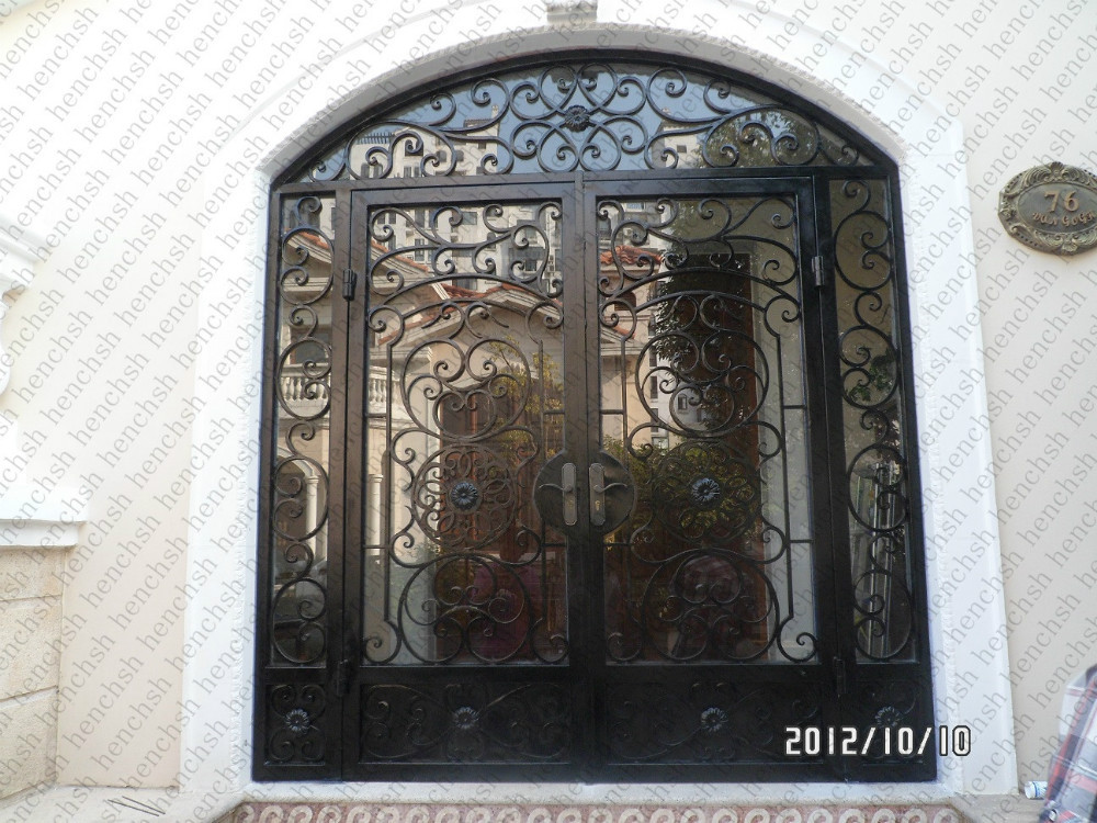 Custom Design Wrought Iron Entry Double Doors Wrought Iron Entry