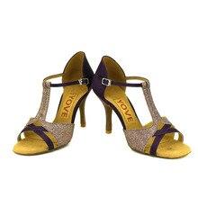 YOVE Dance Shoes Satin Latin/Salsa Dance Shoes Women's 3.5″ Slim Heel w1610-41