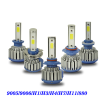 2PCS 9005 9006 H1 H3 H4 H7 H11 880 COB LED Headlight 8000lm 72w 6500K Car