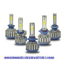 2PCS 9005 9006 H1 H3 H4 H7 H11 880 COB LED Headlight 8000lm 72w 6500K Car