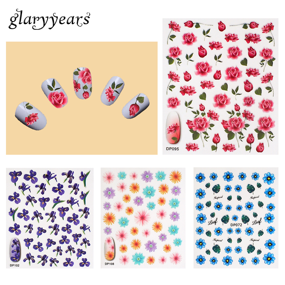 40 Designs 1 Piece Nail Sticker Colorful Flower Pattern Beauty Women Girl DIY Nail Art Manicure Sticker Decal Tips Tool 2018 New