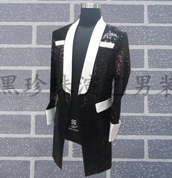 Black men suits designs homme terno stage costumes for singers men sequin blazer dance long clothes jacket style dress rock