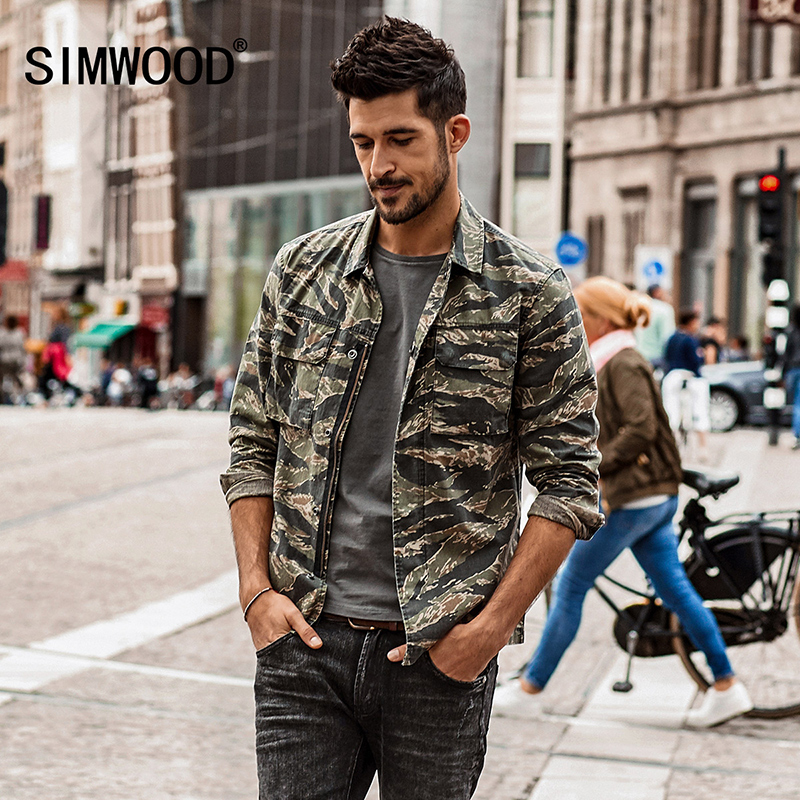 SIMWOOD spring spring New Camouflage jackets men military pocket army tactical denim slim fit plus size high quality NK017012