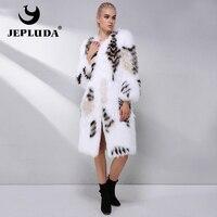 JEPLUDA New Gorgeous Real Fox Fur Coat Natural Fox Fur Outerwear Winter Women Real Fur Coat Women's Long Natural Fox Fur Jacket