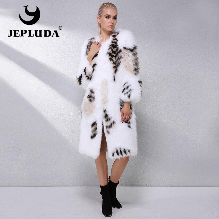 JEPLUDA nueva Gorgeous Real Fox abrigo de piel Real de las mujeres del invierno de las mujeres naturales chaqueta de piel de zorro