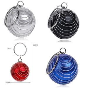 Image 4 - Sekusa円形タッセルラインストーンの女性のイブニングバッグとハンドルのダイヤモンド金属ハンドバッグ結婚式/パーティー/ディナーイブニングバッグ