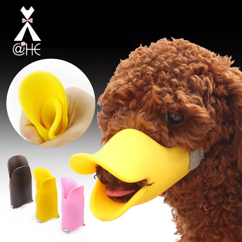@HE Duck Silicone Dog Muzzle  Cute Duck Mouth Design Bark Bite Stop Dog Muzzle Anti-bite Masks For Dogs Cats  Pet Mask Products