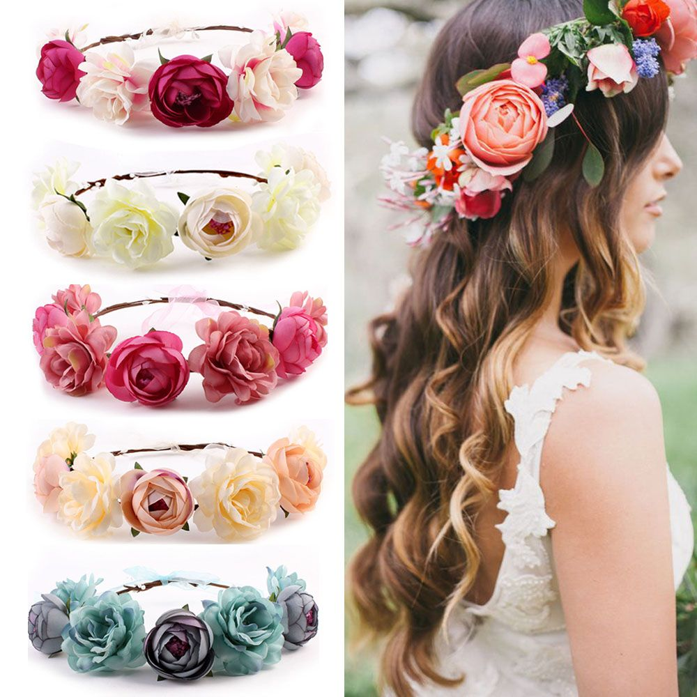 Bohemia Flower Floral Hairband for Women Crown Headband Party Wedding Bride Beach Headwear Ornament Hair Accessories