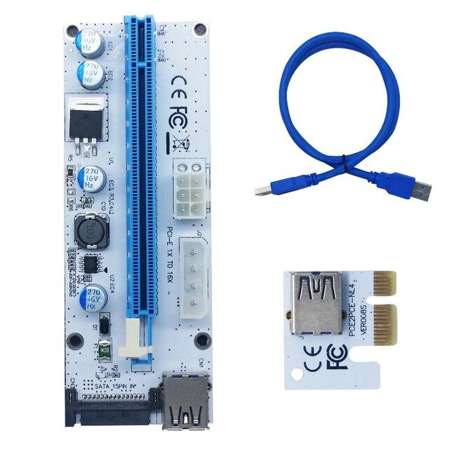 New White PCI-E PCI Express 1X e 4x 8x 16x Extensor De Riser 008 E USB Riser De 008 S Adaptador de Cartão SATA 15pin para BTC Mineiro Mineração