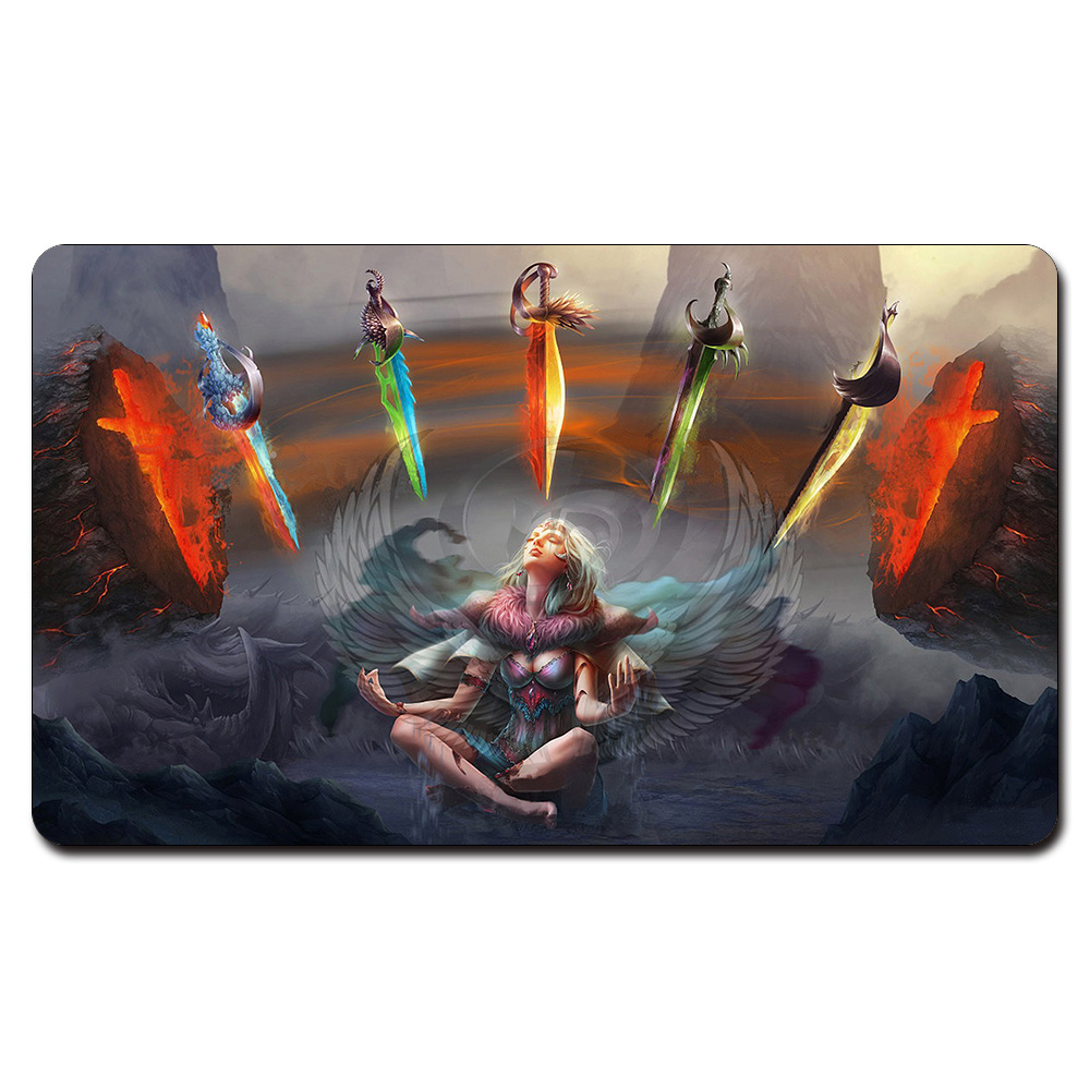 (Five Swords Art Playmat) Board Games Playmats, Mag Card The Games Gathering Play Mat, Custom Design With Free Gift Bag