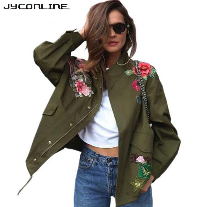JYConline 2017 Basic Jacket Coat Women Army Green Floral Embroidery Bomber Jacket Patches Rivet Zipper Punk Women Jacket Outwear