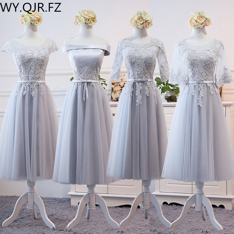 MNZ8&6#Gray And Champagne Round Collar Lace Up Medium And Long Term Sleeve Bridesmaid Dresses Wedding Party Prom Dress Girl 2019