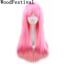 long straight wig bangs black wigs blonde pink brown burgundy wig heat resistant womens wigs synthetic hair WoodFestival