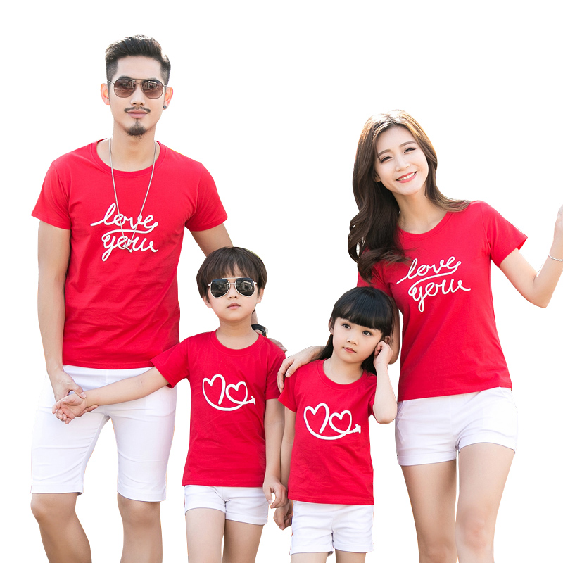 Family Clothes Letter Love Heart Summer Short Sleeve T