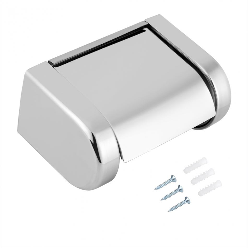 Stainless Steel Toilet Roll Holder Us 13 8 40 Off Stainless Steel Toilet Paper Holder With Cover Toilet Roll Holder Wc Paper Hold Bathroom Accessorie In Storage Holders Racks From