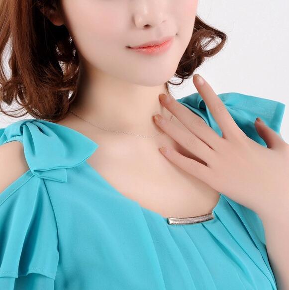 OMHXZJ moda al por mayor mujer 16 & 18 pulgadas 1.1 mm platino plata - Joyas - foto 5