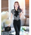 Summer Fashion Female Pantsuits Women Business Suits with Pant and Top Sets Ladies White and Black Striped Blouses & Shirts