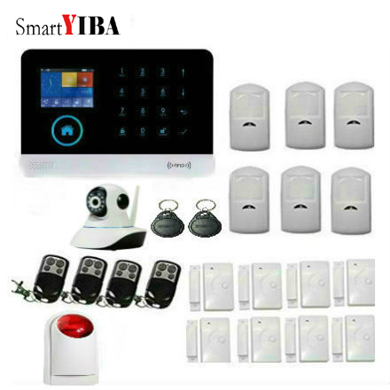 SmartYIBA WiFi 2G/GSM Alarm Home Security Alarm Systerm IOS Android APP Control House Alarm with IP Camera Strobe Siren Russian smartyib whole home alarm systerm business security alert with ios