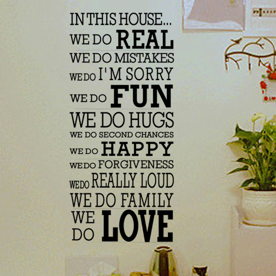Art Quote Wall Decor Quotes Living Room Wall Decal Stickers In This House  We Do Real Mistakes Fun Hugs Happy Family Love Decals In Wall Stickers From  Home ...