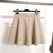 цена на Short Skirt Thick Female 2019 New Woolen Slim Skirt High Waist Umbrella Skirt A-Line  Natural