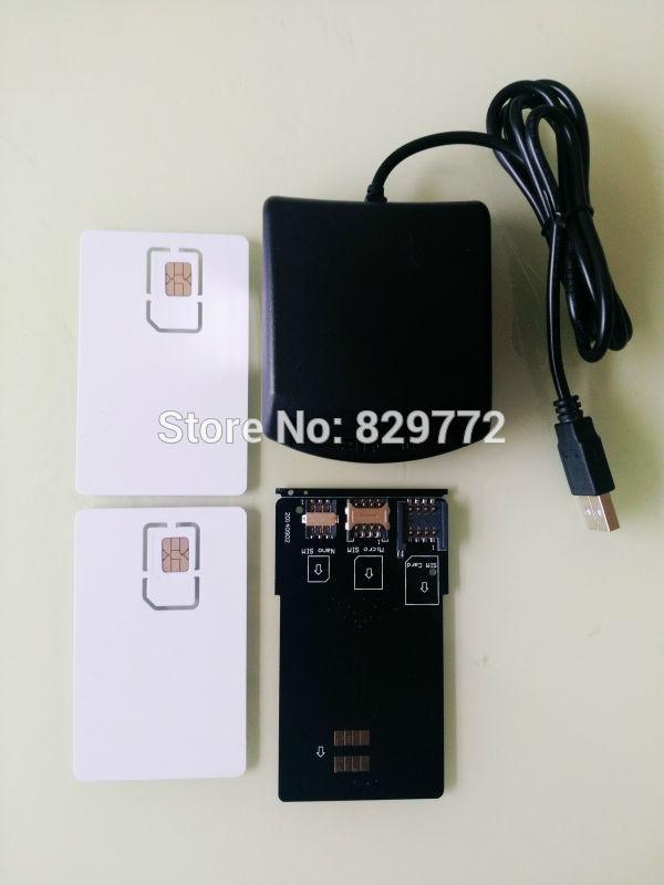 imágenes para LTE 4G USIM WCDMA SIM Escritor Lector de Tarjetas de Seguridad herramienta programador con 2 UNIDS LTE En Blanco Tarjeta USIM 1 unids tarjeta SIM convertidor