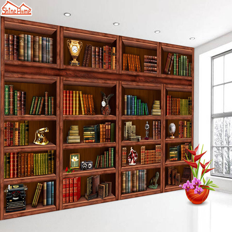 ShineHome-Retro Wood Bookcase 3d Wallpaper for Walls 3 d Wallpapers for Living Room 3 d Mural Roll Ceiling TV Background Decor shinehome skyline sea wave sunset seascape wallpaper rolls for 3d walls wallpapers for 3 d living rooms wall paper murals roll