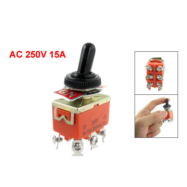 BOFO New 15A 250VAC on off on 3 Position DPDT Toggle Switch with Waterproof Boot in Switches from Lights Lighting
