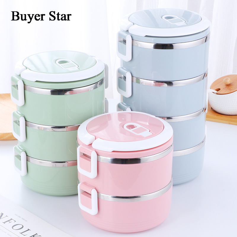 Buyer Star Vacuum Lunch Box Stainless Steel 18/8 Food Container Multi layers Portable Bento Box For Students Office go Picnic