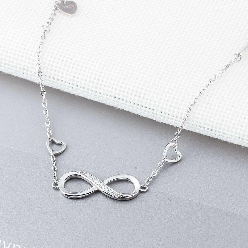 925 Sterling Silver Bracelets for Women Infinity Bracelet with Cubic Zirconia 8 Shape Chain Bracelet Jewelry Gift(Lam Hub Fong)