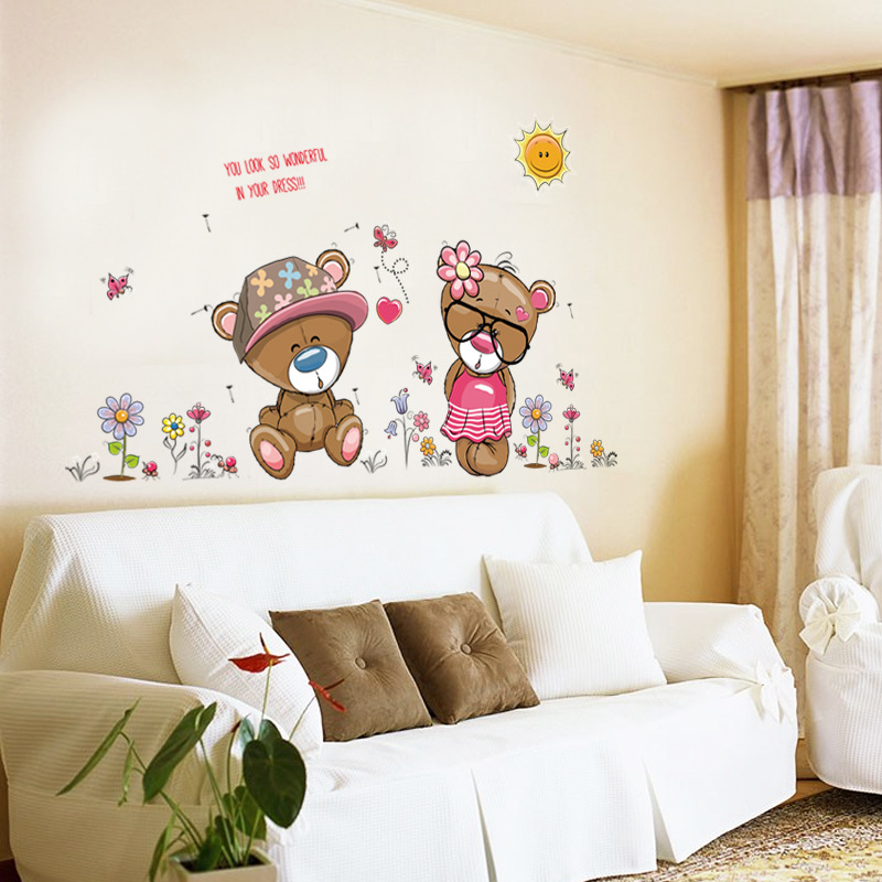 Cartoon Cute Teddy Bear Wall Sticker Home Decor Decals For Kids Baby Bedroom Living Room Decoration Wallpaper In Stickers From Garden On