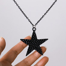 Fashion Jewelry Black Pentagon Five-pointed Star Pendant Necklace For Women Hip Hop Punk Long Sweater Necklace Wholesale stylish five pointed star pendant black double chokers necklace