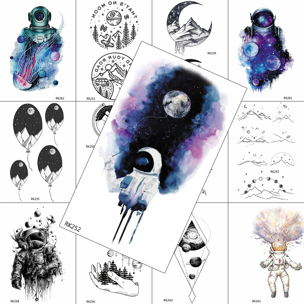 Watercolor Space Man Temporary Tattoos Kids Astronaut Sticker Moon Fake Washable Tattoo For Men Women Arm Body Art Tatoos