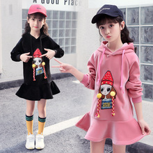 Anlencool Girl's clothing autumn winter velvet and thickening 2019 new fashion 5-12 years children's cartoon girls hooded jacket