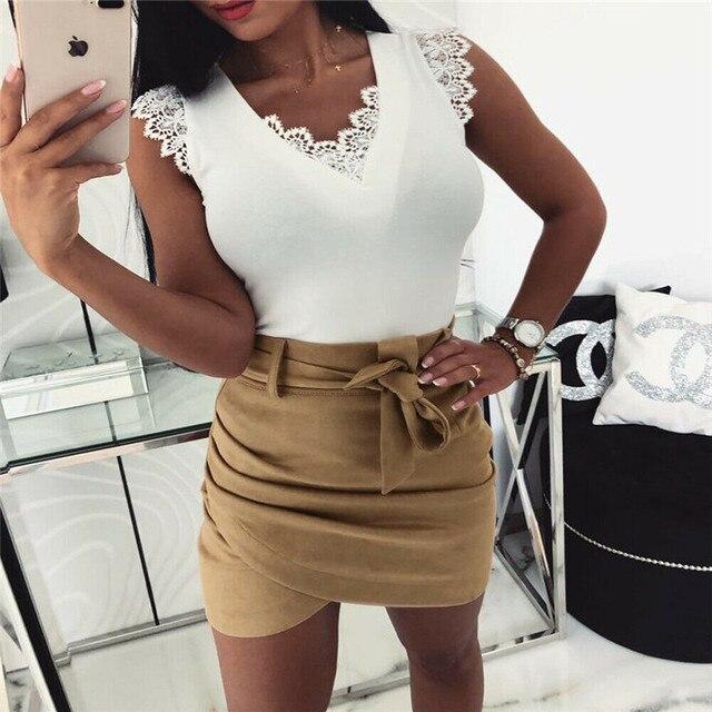 Asymmetric belt suede skirts women Bodycon leather Spring skirts 2019 New Sexy streetwear High waist Bandage short skirts femme 5