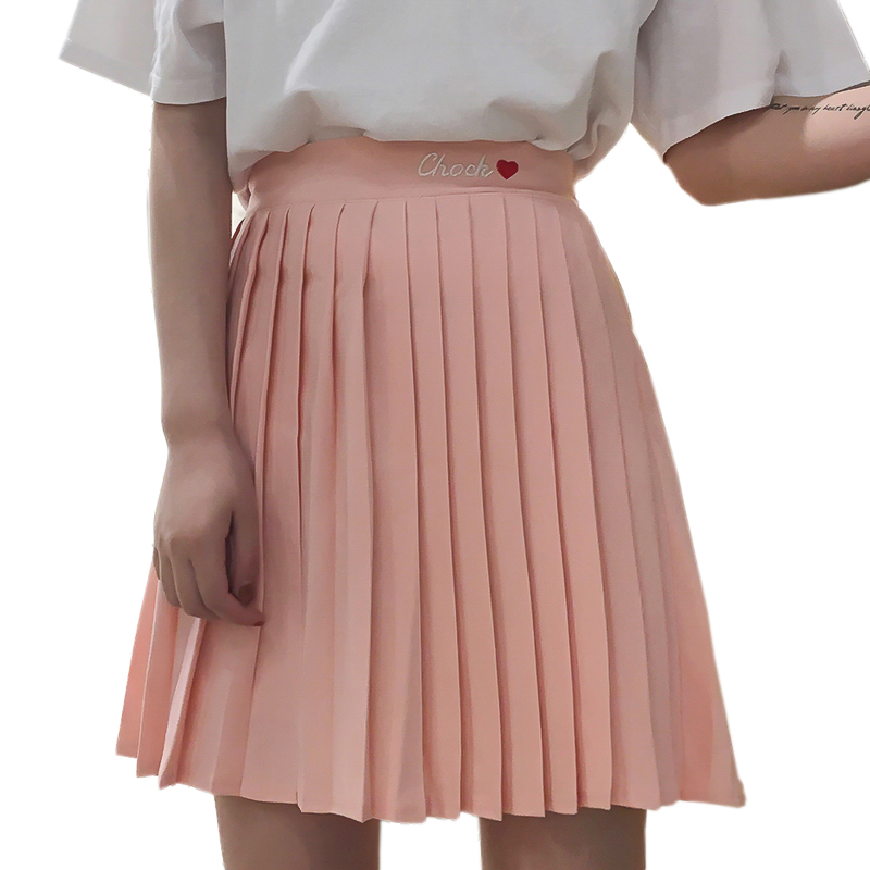 2018 New Summer High Waisted Skinny Pleated Embroidered Skirts Harajuku Preppy Style Women Temperament Sweet Pleated Skirts