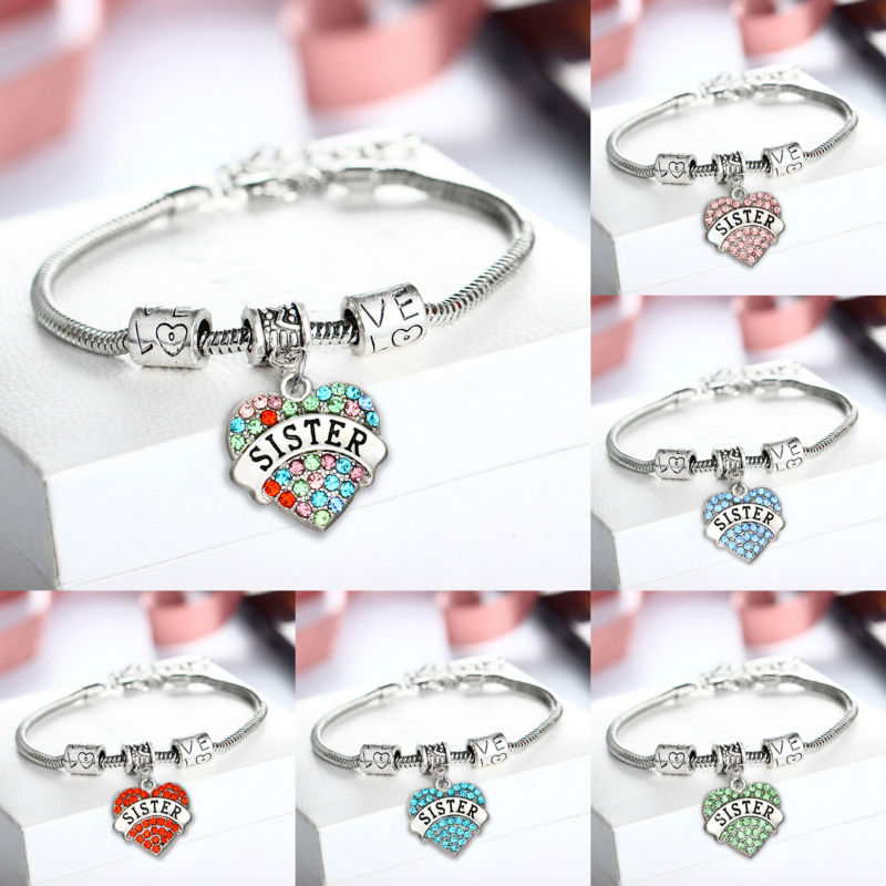 6 Colors Charm Sky Blue Red Pink Crystal Love Heart Pendant Bracelets Bangles Sister Sis Family Women Girls Jewelry Gifts Party