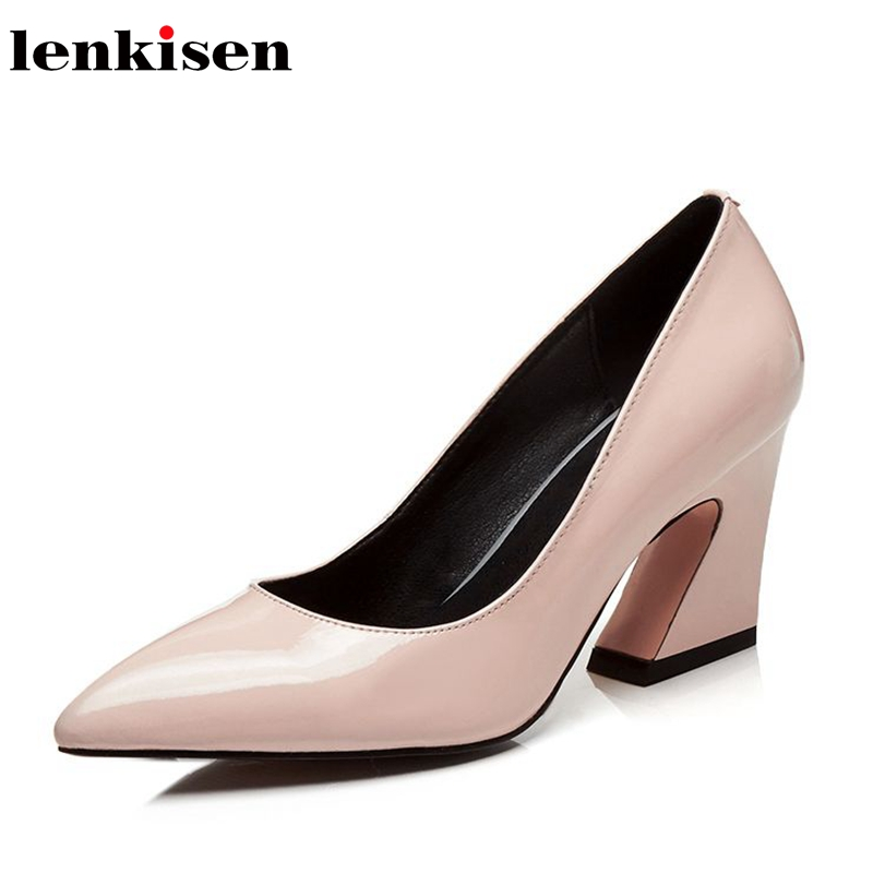 Lenkisen spring and summer cow leather office lady pointed toe shallowe slip on shoes high heels leather classic women pumps L18 cresfimix women cute spring summer slip on flat shoes with pearl female casual street flats lady fashion pointed toe shoes