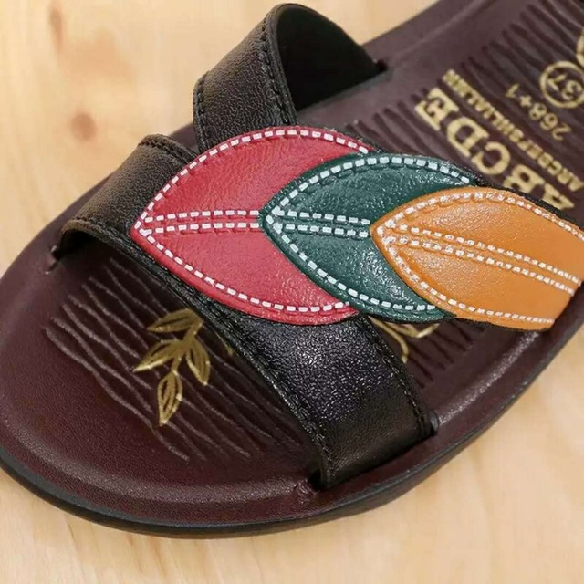 Leather Small Wedge Summer Sandal