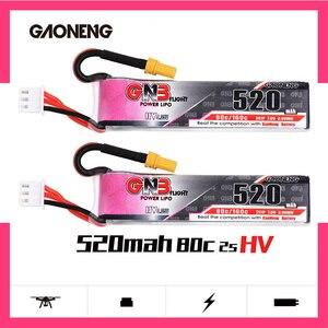 Image 1 - 2 pces gaoneng gnb lipo bateria 520 mah 7.6 v 80c 2 s hv 4.35 v recarregável rc bateria xt30 plug para rc fpv zangão quadcopter
