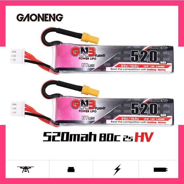 2 pces gaoneng gnb lipo bateria 520 mah 7.6 v 80c 2 s hv 4.35 v recarregável rc bateria xt30 plug para rc fpv zangão quadcopter