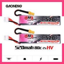 Аккумулятор Gaoneng GNB Lipo 520 мАч 7,6 В 80C 2S HV 4,35 в, перезаряжаемая батарея XT30 для радиоуправляемого FPV дрона квадрокоптера, 2 шт.