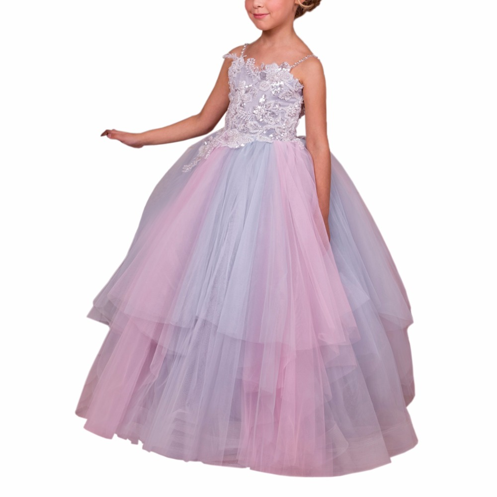 Long Girls dresses Ball Gown Kids Prom Dress Tulle Flower Girls Dresses Lace Up Mother Daughter Dresses for Girl new red champagne flower girl dresses long sleeves lace satin mother daughter dresses for children christmas party prom gown