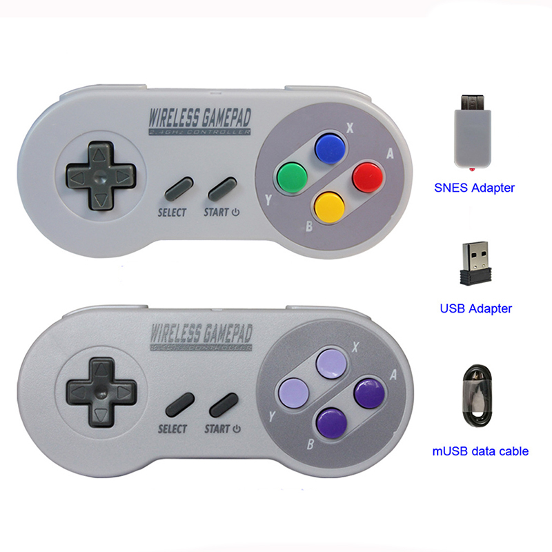 Gamepads sem fio 2.4 GHZ Joypad Joystick Controlador para SNES NES Clássico Mini do windows IOS Android Console remoto raspberry pi