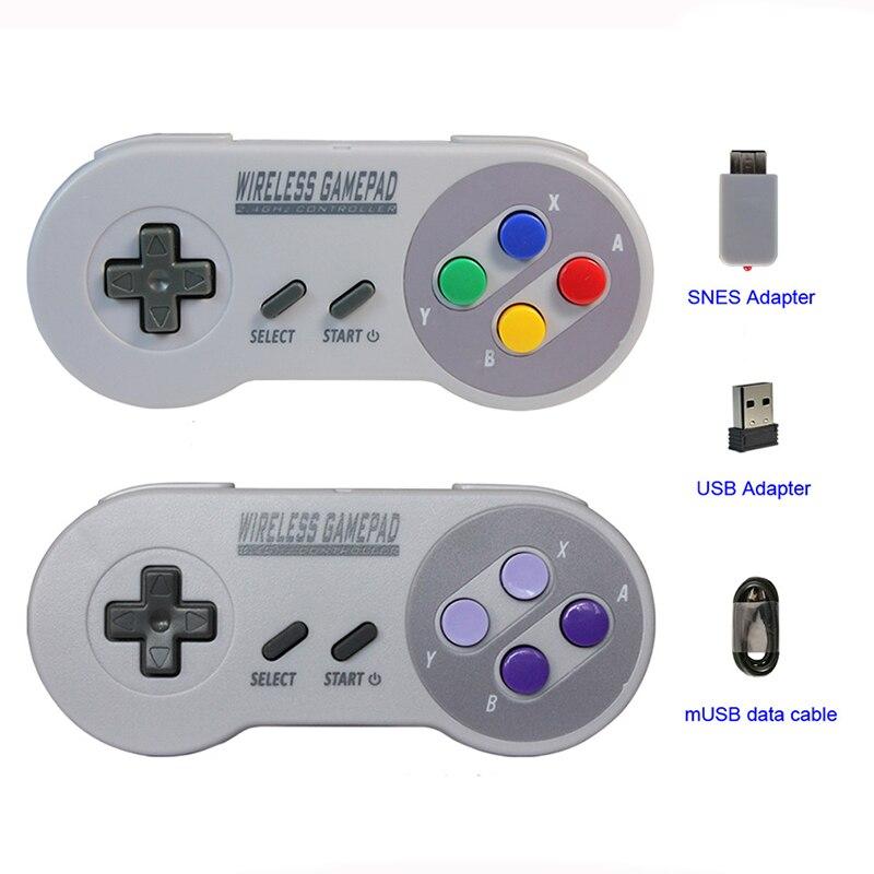 Gamepads sem fio 2.4 GHZ Joypad Joystick Controlador para SNES NES Clássico Mini do windows IOS Android Console remoto raspberry pi