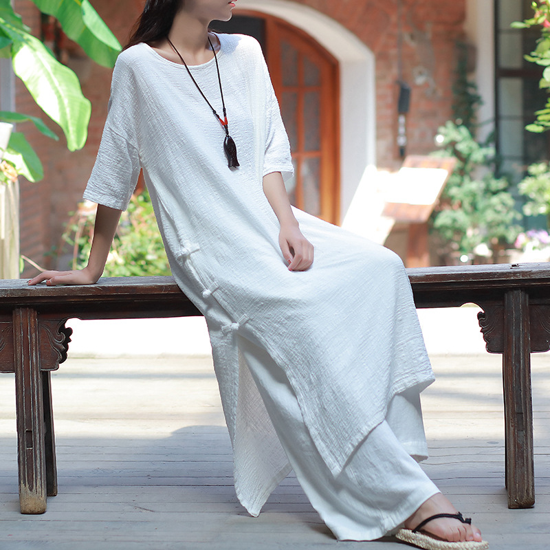 Women Vintage Robe Loose Cotton Linen Robes Summer New O-Neck Half Sleeve Button Solid Color Brief Women Gown