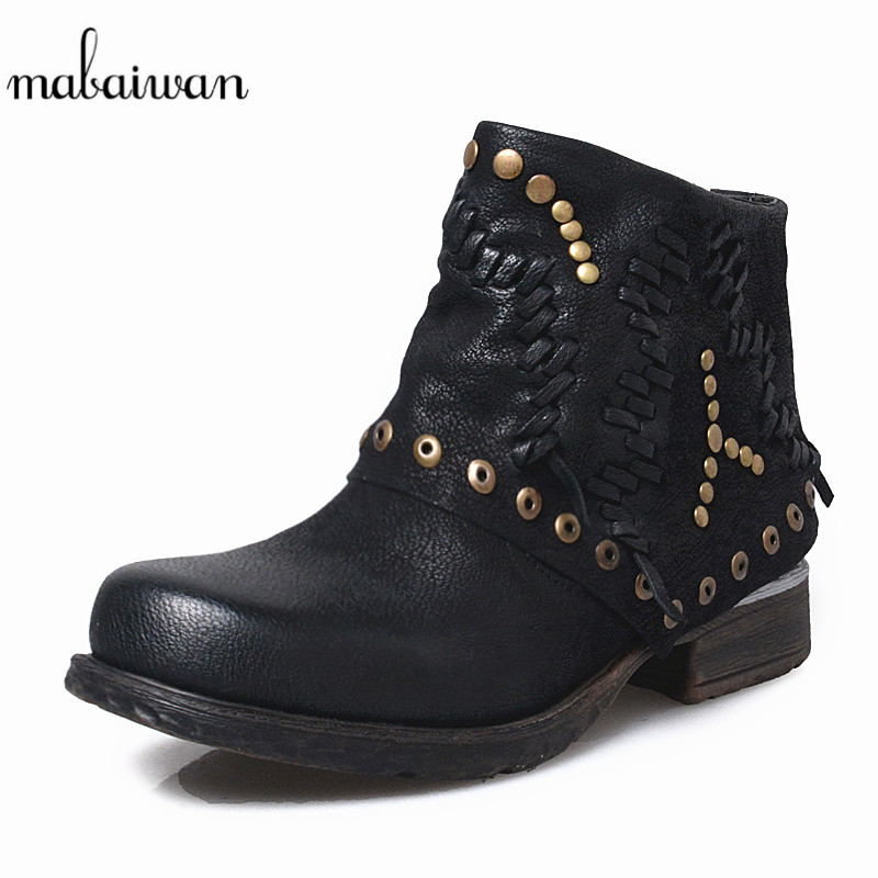 Mabaiwan Black Winter Snow Martin Ankle Boots Women Shoes Genuine Leather Flats Retro Military Cowboy Boots Rivet Zapatos Mujer mabaiwan handmade rivets military cowboy boots mid calf genuine leather women motorcycle boots vintage buckle straps shoes woman