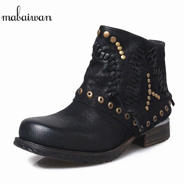 Mabaiwan negro Botines invierno nieve Martin Botines negro mujeres Zapatos Cuero b8f7ee
